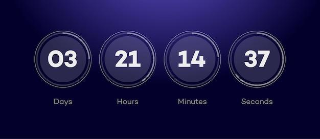 Temps restant avec compte à rebours du cercle des jours heures minutes secondes page web événement à venir application ui