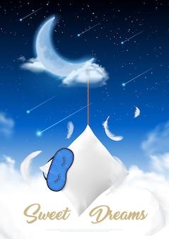 Temps de sommeil dans une affiche réaliste de nuit de lune avec oreiller en plumes et cache-œil pour dormir à l'illustration de fond de ciel étoilé