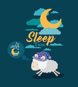 Temps de sommeil avec des moutons pensant dans la nuit