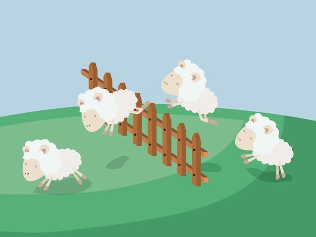 Temps de sommeil avec des moutons sauter clôture en bois