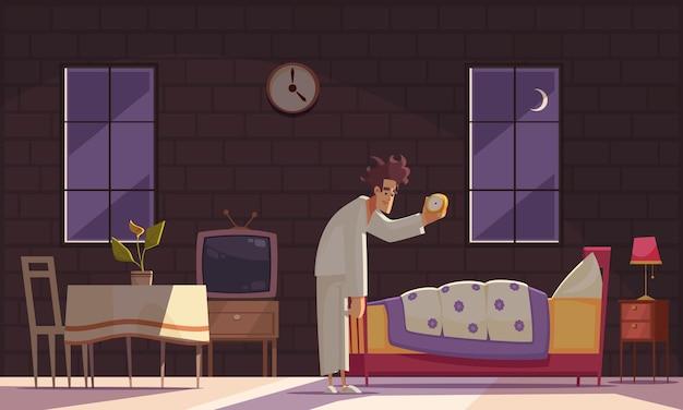 Temps de sommeil et table de chevet avec symboles d'heure tardive à plat