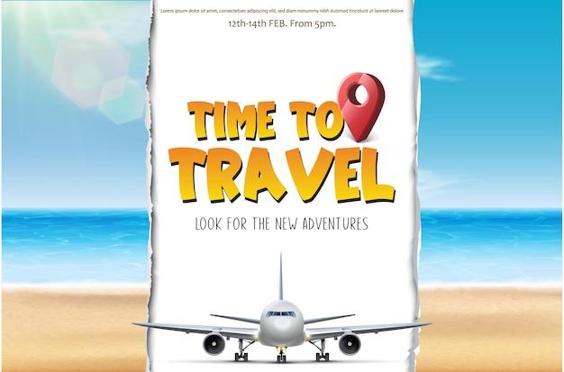 Temps de vecteur pour voyager bannière touristique avec plage et avion qui coupe le papier