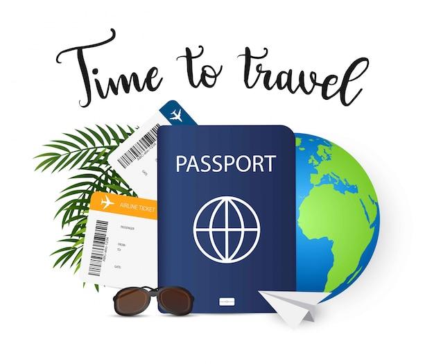 Temps de voyager. bannière d'été