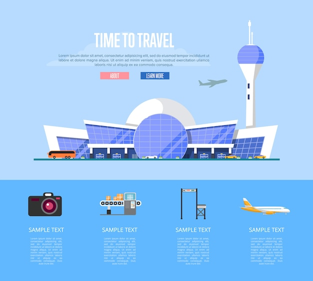 Temps de voyager bannière avec terminal de l'aéroport