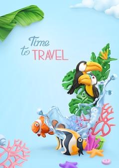 Temps de voyager carte 3d avec jungle tropicale, récif de corail, toucans, poissons