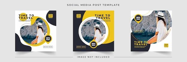 Temps de voyager collection de publications sur les réseaux sociaux