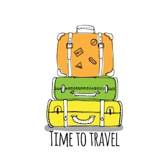 Temps de voyager ensemble avec contour bagages