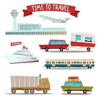 Temps de voyager. ensemble de transport - avion, train, bateau, voiture, camion et fourgonnette
