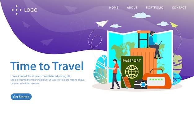 Temps de voyager, illustration vectorielle de site web