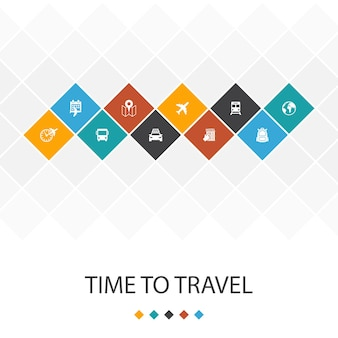 Temps de voyager à la mode infographie de modèle d'interface utilisateur concept.réservation d'hôtel, carte, avion, icônes de train