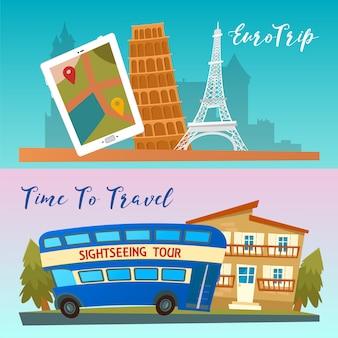 Temps de voyager. voyager en bus. voyage en euro. illustration vectorielle