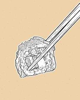 Tenant des baguettes et un rouleau de sushi, croquis dessiné à la main