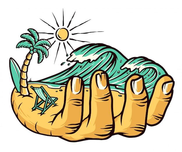 Tenant l'illustration de la plage