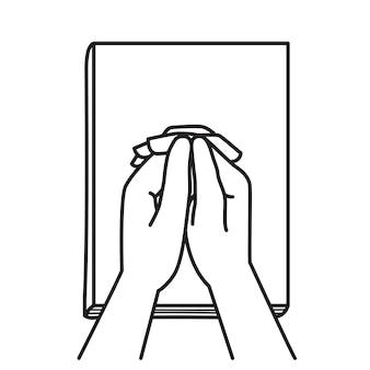 Tenant la main en priant sur la bible