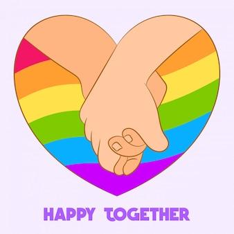 Tenant les mains ensemble dans le coeur arc-en-ciel