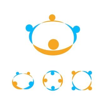 Tenant le modèle de logo de mains, signe de communauté de personnes, icône de mains d'aide, ensemble d'emblème de vecteur d'union de personnes