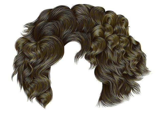 Tendance femme cheveux bouclés couleurs blondes .fringe. style de beauté de la mode réaliste.