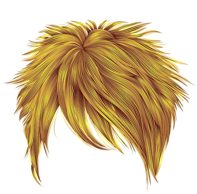 Tendance femme poils courts couleurs jaune vif. la frange. style de beauté de la mode. réaliste.