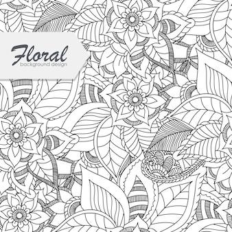 Tendance floral seamless pattern dans le style doodle