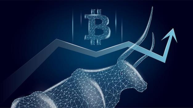 Tendance haussière de bitcoin avec un taureau polygonal et une flèche vers le haut avec le symbole btc sur fond bleu foncé. illustration vectorielle de néon moderne.