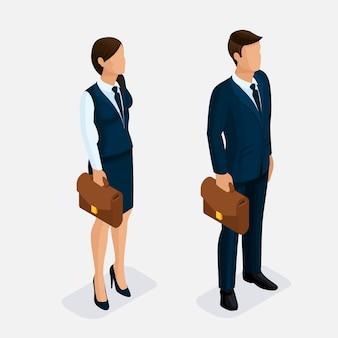 Tendance isométrique, femme et homme sur fond clair, isolé. jeune homme d'affaires et femme d'affaires, vêtements élégants, portefeuille strict de coiffures