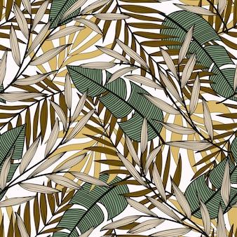 Tendance modèle sans couture avec les feuilles et les plantes tropicales vertes et jaunes