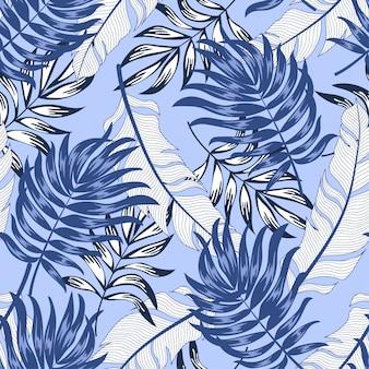 Tendance motif tropical sans couture avec des plantes et des feuilles lumineuses sur fond violet