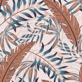 Tendance transparente motif lumineux avec des feuilles tropicales colorées et des plantes sur beige