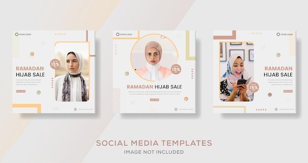 Tendances hijab de mode pour le modèle de bannière ramadan kareem