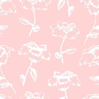 Tendre beau modèle sans couture rose avec des roses blanches de croquis dessinés à la main