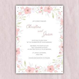 Tendre invitation de mariage dans des couleurs pastel
