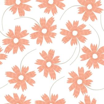 Tendre motif floral orange pastel clair