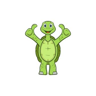 Tenez la bonne illustration de vecteur de dessin animé mignon tortue
