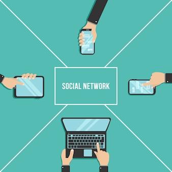 Tenez les smartphones et les tablettes pointés sur l'écran tactile. mains, taper du texte sur le clavier de l'ordinateur portable. concept technologique et commercial. jeu d'icônes d'utilisation de la tablette. illustration,.