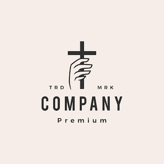 Tenir la main christ croix hipster logo vintage