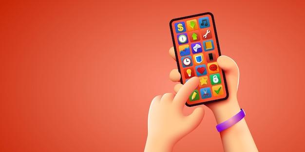 Tenir le téléphone à deux mains modèle de smartphone modifiable maquette de téléphone touchant l'écran avec le doigt