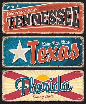 Tennessee, texas et floride états plaques de métal rouillé