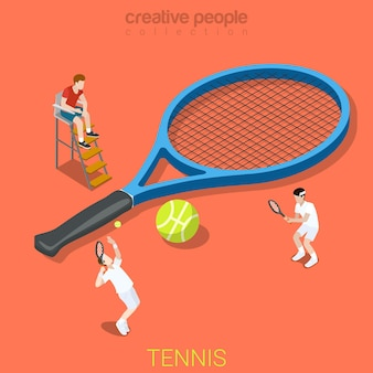 Tennis plat sport isométrique