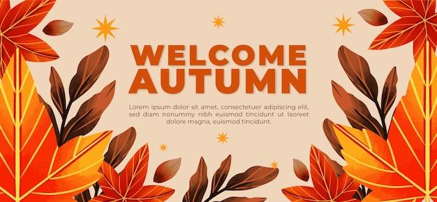 Tenokate de bannière horizontale automne aquarelle