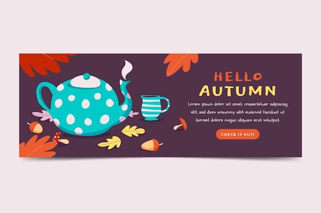 Tenokate de bannière horizontale automne plat dessiné à la main