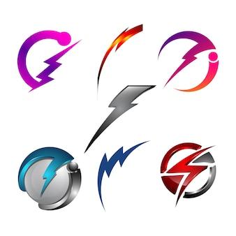 Tension de puissance de la lumière de danger électrique flash tonnerre 3d