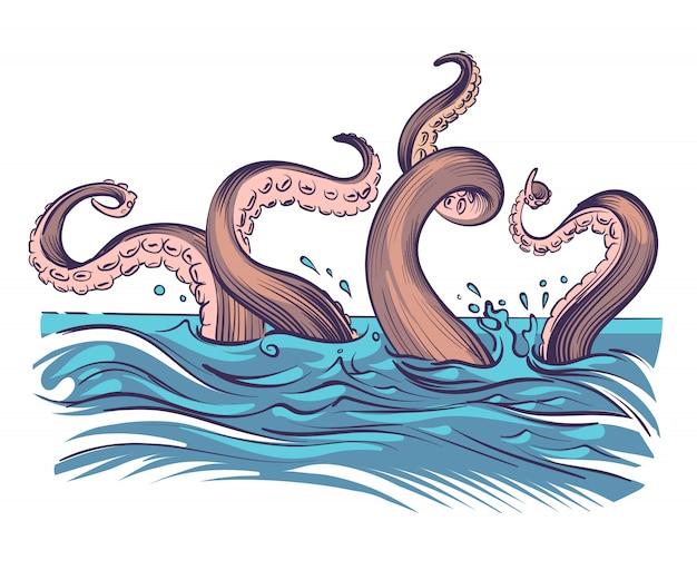 Tentacules de poulpe dans la mer