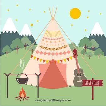 Tente boho avec des éléments de camping