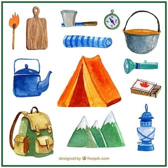 Tente de camping aquarelle et éléments de camping
