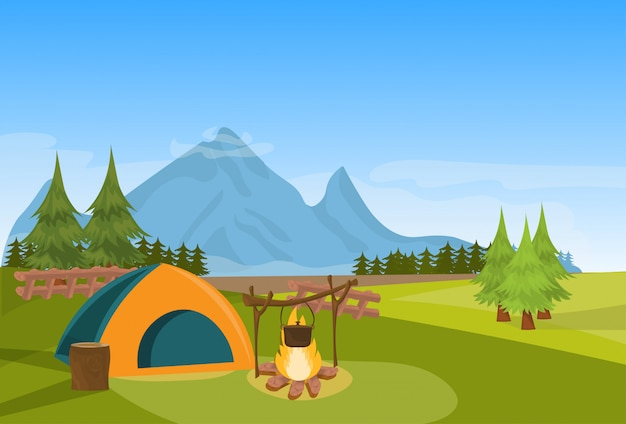 Tente camping feu forêt montagne expédition expédition concept horizontal