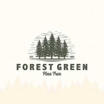 Tente de camping de logo vintage et feu de camp dans l'aventure en plein air de pin de montagne de forêt