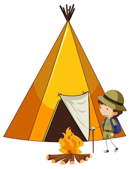 Tente de camping avec personnage de dessin animé pour enfants doodle isolé