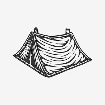 Tente de camping en plein air vintage rétro gravure sur bois peut être utilisée comme étiquette d'insigne de logo emblème