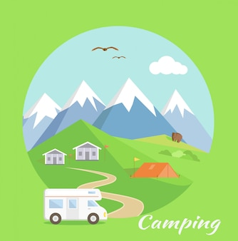 Tente de camping près des montagnes