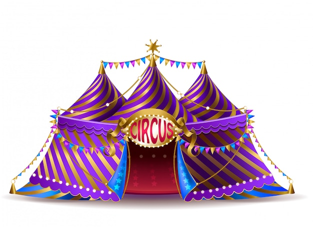 Tente de cirque rayé réaliste 3d avec des drapeaux et un panneau lumineux pour les représentations